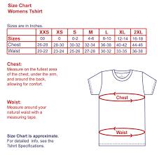 Womens T Shirts Size Chart Teddy Tshirts