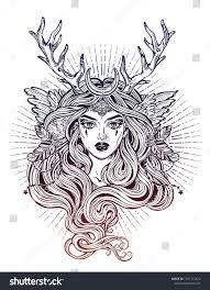Shaman Elf Magic Woman Deer Antlerss Stock Vector Royalty Free