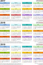 three year calendar 2017 2018 2019 portrait orientation in full color