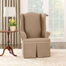 Single Living Room Chairs Sure Fit Cotton Duck Slipcover Collection Parson Chair Slipcovers