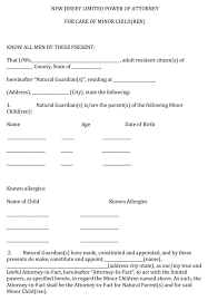 Power Of Attorney For Child Care Download New Jersey Limited Power Of Attorney For Care Of
