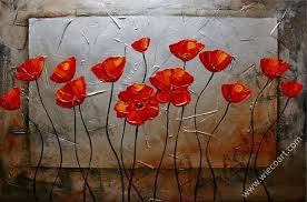 red poppies blossom fl oil painting wall art modern canvas art wall decor