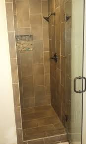 astonishing design of the small shower ideas with beige tile color ideas added with black rain