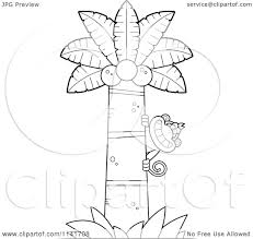 Cartoon Clipart Of A Black And White Monkey Behind A Coconut Palm ...