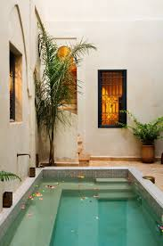 A private dipping pool with built-in seating to give it a relaxing spa  feel.