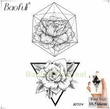 Baofuli геометрическая алмаз временные Rose Tattoo цветок листья черной татуировки