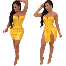 y strapless leather club zipper dress item no qw uj4528 1