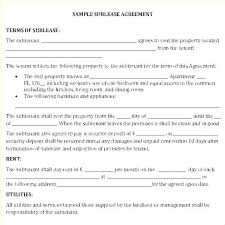 Sample Sublease Agreement Sublease Contract Template Free Meltfm Co