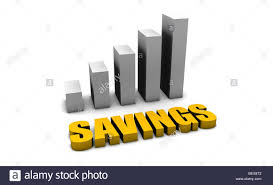 Growing Savings In 3d With Bar Graph Chart Stock Photo