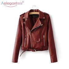 aelegantmis autumn new short faux soft leather jacket women