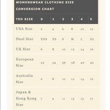 Ted Baker Dress Size Chart Ted Baker Sizing Chart