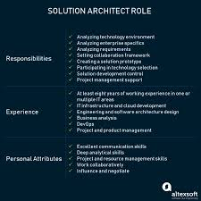 Software Solutions And Designs Who Is Solution Architect Role And Responsibilities Altexsoft