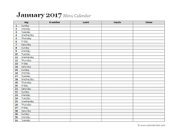 monthly meal planner template 2017 monthly menu planner free printable templates