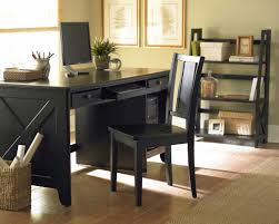 wooden rustic home office desks office space design black back chair garbage storage made from rattan big office desks