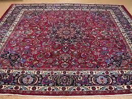 x hand knotted wool red blue square oriental rug carpet traditionalsignedzarin persian rugs