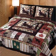 Whitetail Deer Quilt Full Queen Set Mountain Lodge Themed Bedding ... & Whitetail Deer Quilt Full Queen Set Mountain Lodge Themed Bedding Cabin  Charm Patchwork Leaves Hoofprints Wildlife Adamdwight.com