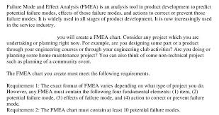 Fmea Chart Solved Failure Mode And Effect Analysis Fmea Is An Anal
