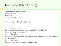 Minutes Sample Format Writing Meeting Minutes Template Simple Minutes Template
