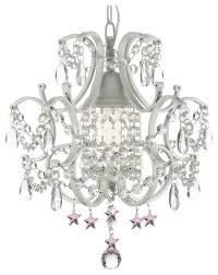 wrought iron and crystal white chandelier pendant with pink crystal stars