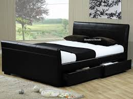 bed frame with storage drawers.  Bed Black King Size Bed Frame With Storage Drawers  Throughout Sleepland Beds