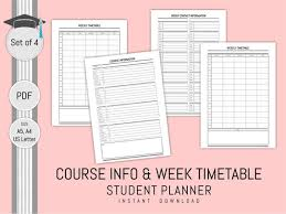 Planner Printables For Students Student Planner Inserts Printable Subject Timetable Week Planner Group Contact Log Academic Planner To Do List Daily Schedule Agenda 2020