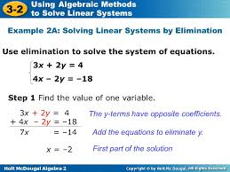 holt mcdougal algebra 2 3 2 using algebraic methods to solve linear systems use elimination