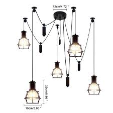 5 light vintage hanging island pendant light fixture industry style metal finish