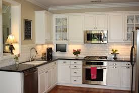White Cabinet Feat Black Countertop Design For Small L Shaped Kitchen  Granite Cabinets Cabin Remodeling Interesting With Countertops