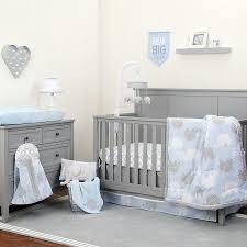 crown craft nojo dream elephant bedding crib set 8 pieces blue gray