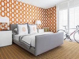 gray and orange bedroom. orange and gray bedroom with monogram shams n