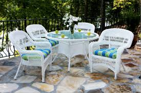 wicker outdoor dining set. 5 Piece White Wicker Outdoor Patio Furniture Set Dining R