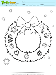 Christmas Wreath Coloring Sheet Turtle Diary