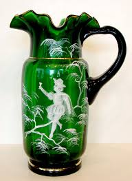 details about 1800 s antique vintage mary gregory victorian emerald green glass water pitcher