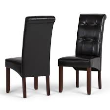 simpli home cosmopolitan midnight black faux leather parsons dining chair set of 2