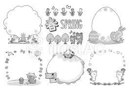 春イラストフレームモノクロイラスト No 1057892無料イラストなら