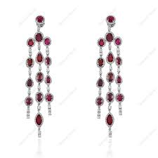 ruby with 4 62cts brilliant diamond chandelier earrings in 18k white gold