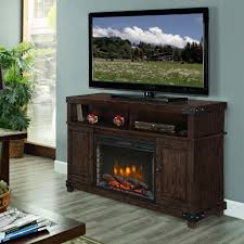 fireplace stands electric fireplaces the rustic brown muskoka kit flat panel media stand designs pre lit
