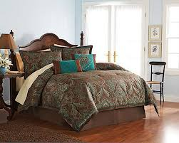 4 pc full teal brown turquoise blue jacquard paisley comforter set cocoa boho