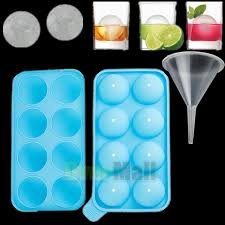 blue round ice maker tray 8 sphere molds cube whiskey cocktails funnel