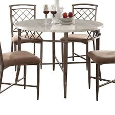 acme aldric round marble top dining table in faux marble antique