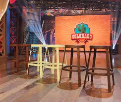 Tv studio furniture Red Tv The Coloured Steel Stools Of The Thor Collection Designed By The Chiaramontemarin Studio Have Been Selected To Decorate The Set And Add Colourful Touch Alabaster City Schools Emus Outdoor Furniture To Decorate The Colorado Tv Studio Emu