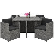 space saving patio furniture. Best Choice Products Space Saving Outdoor Patio Furniture 5-Piece Wicker Dining Set- Dark P