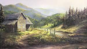 rustic cabin oil painting landscape art