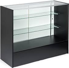 4 long black finish glass display cabinet with sliding doors adjule shelves