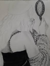 handdrawn view from behind of a female holding hand mirror mirror drawing0 mirror