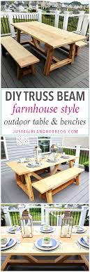 diy outdoor farmhouse table. DIY Truss Beam Farmhouse Style Outdoor Table And Benches, DIY- Build, Diy