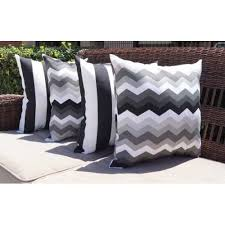 White and Grey Stripe Outdoor Pillow Set of 4