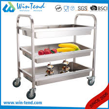 square 3 tiers stainless steel deep shelves trolley for cleaning and collecting with 4 wheel