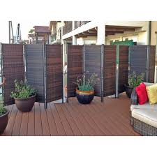 This sturdy outdoor wicker privacy screen partition is perfect for shared  spaces where there are no