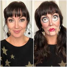 finished creepy doll makeup before and after